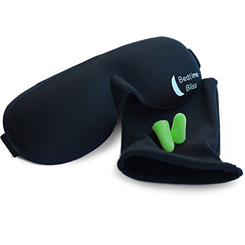 Bedtime-Bliss-Contoured-Comfortable-Sleep-Mask-Moldex-Ear-Plugs-Includes-Carry-Pouch-for-Eye-Mask-and-Ear-Plugs-For-Travel-Shift-Work-Meditation-0