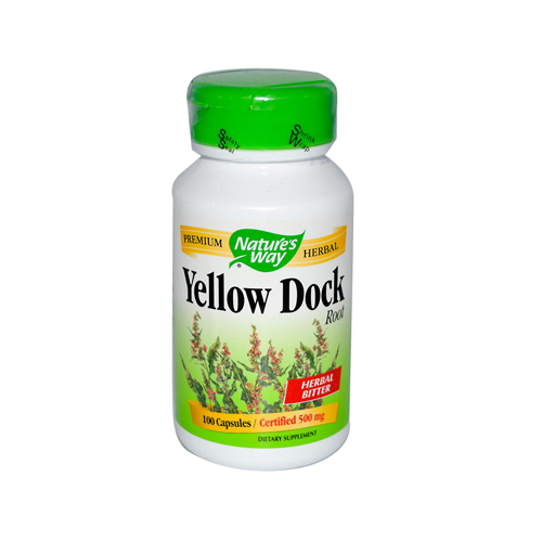 Nature's Way Yellow Dock Root - 500 mg - 100 Capsules