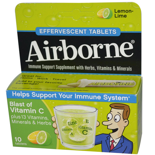 Airborne Effervescent Tablets with Vitamin C - Lemon Lime - 10 Tablets