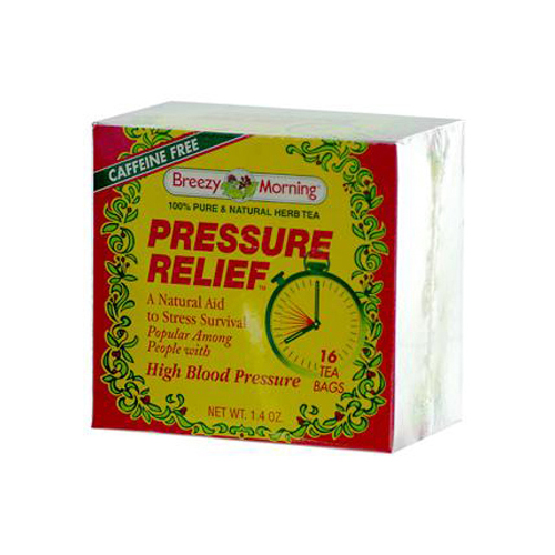 Breezy Morning Teas Pressure Relief 100% Pure and Natural Herb Tea Caffeine Free - 16 Bags