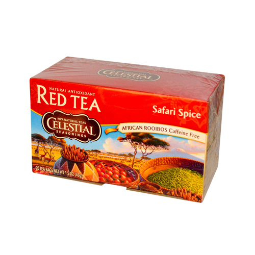 Celestial Seasonings African Rooibos Tea - Safari Spice - Caffeine Free - Case of 6 - 20 Tea Bags