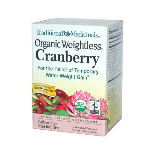 Traditional Medicinals Organic Weightless Cranberry Herbal Tea - 16 Tea Bags - Case of 6