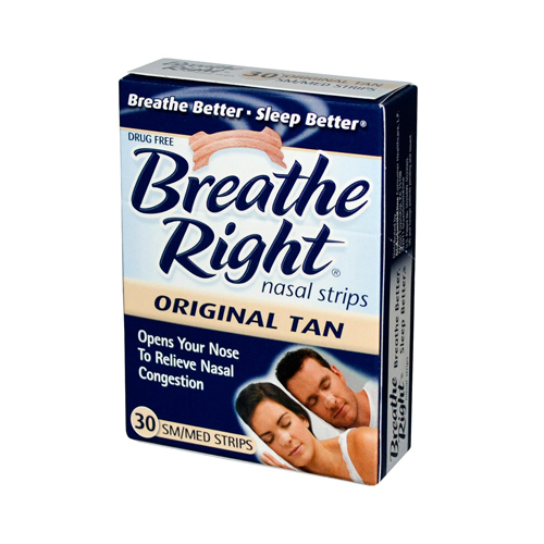 Breathe Right Drug Free Snoring and Congestion Nasal Strips Small Med Original Tan - 30 Strips