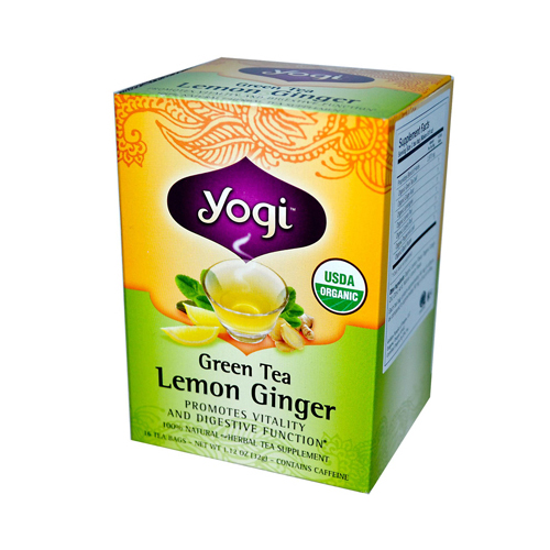 Yogi Tea Organic Green Tea Lemon Ginger - Caffeine - 16 Tea Bags
