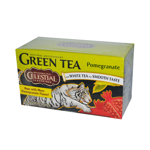 Celestial Seasonings Green Tea Pomegranate - Contains Caffeine - Case of 6 - 20 Bags