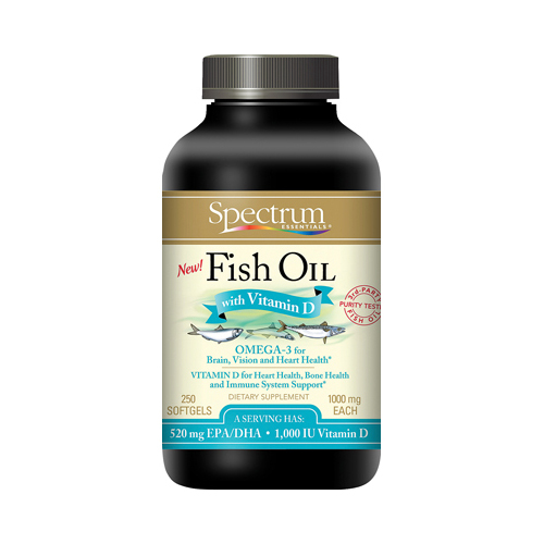 Spectrum Essentials Fish Oil With Vitamin D - 250 Softgels