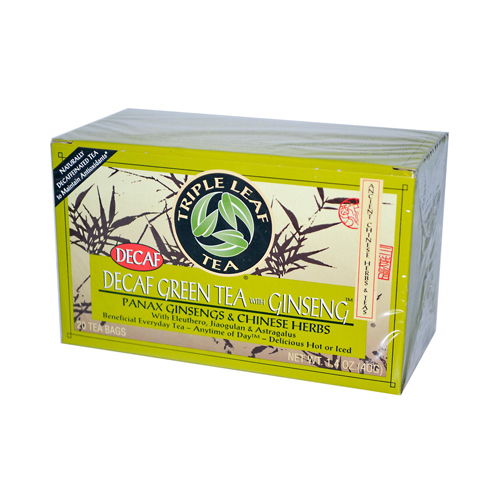 Triple Leaf Tea Green Tea with Ginseng - Decaffeinated - Case of 6 - 20 Bags