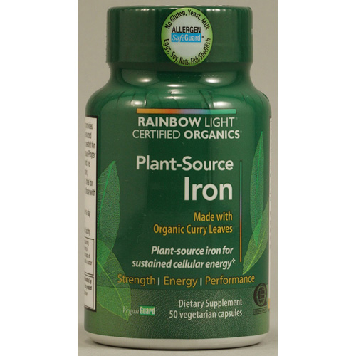Rainbow Light Iron - Plant Sourced - Certified Organics - 50 Veg Capsules