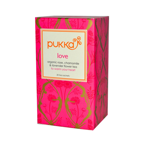 Pukka Herbal Teas Love Organic Rose Chamomile and Lavender Tea - Caffeine Free - 20 Bags