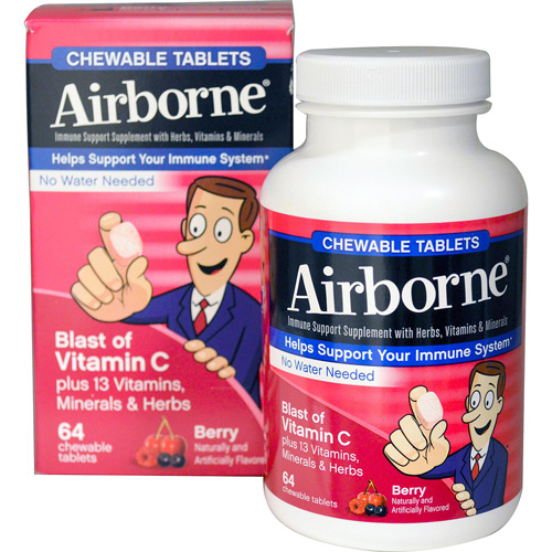 Airborne Chewable Tablets with Vitamin C - Berry - 64 Tablets